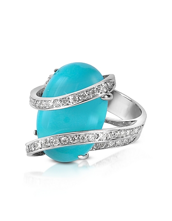 Del Gatto - Turquoise Diamond Channel 18K Gold Ring
