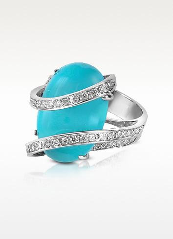 Turquoise Diamond Channel 18K Gold Ring - Del Gatto