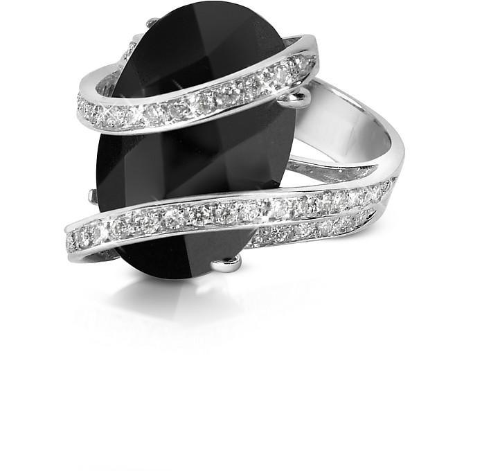 Onyx Diamond Channel 18K Gold Ring - Del Gatto