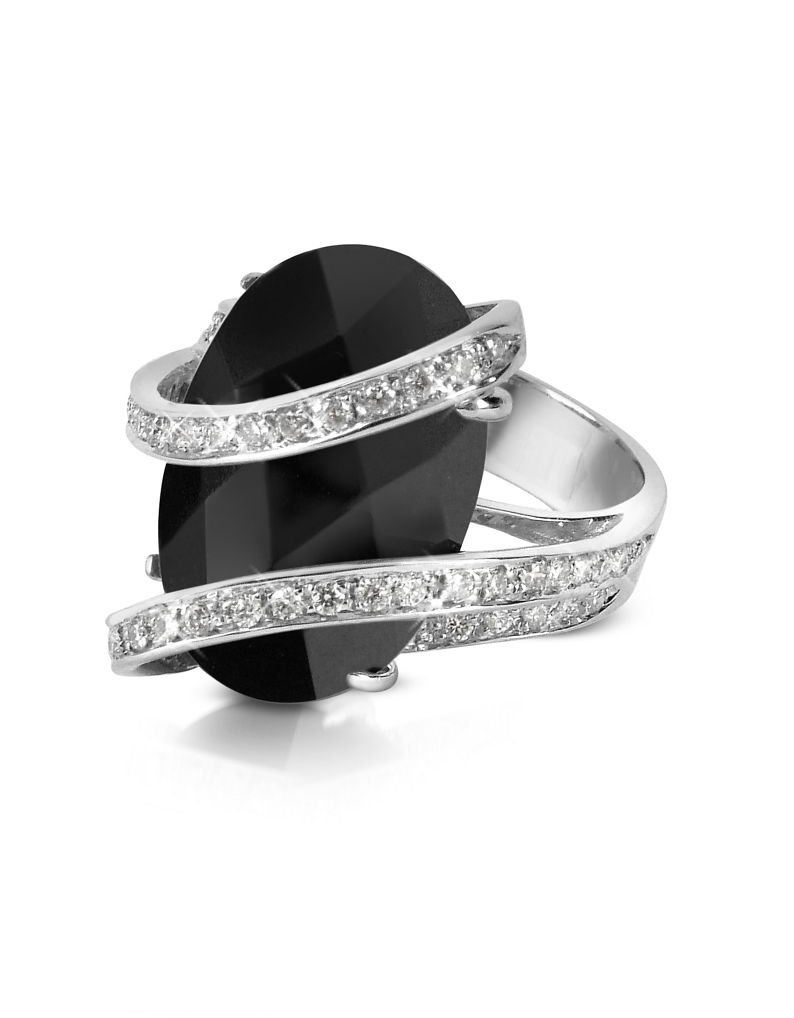 Del Gatto Rings, Onyx Diamond Channel 18K Gold Ring