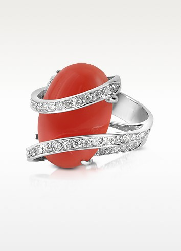 Red Coral Diamond Channel 18K Gold Ring - Del Gatto