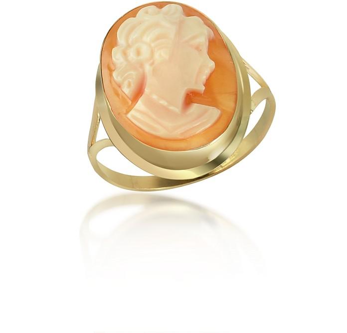 Woman Cornelian Cameo 18K Gold Ring - Del Gatto