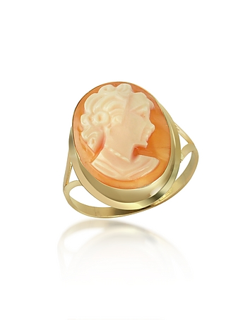 Woman Cornelian Cameo 18K Gold Ring