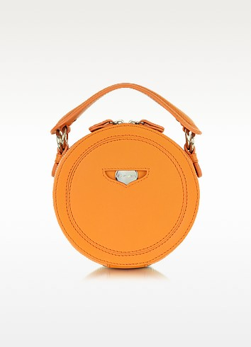 Orange Leather Round Clutch - Carven