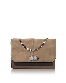 Color Block Suede and Leather Flap Shoulder Bag - Carven
