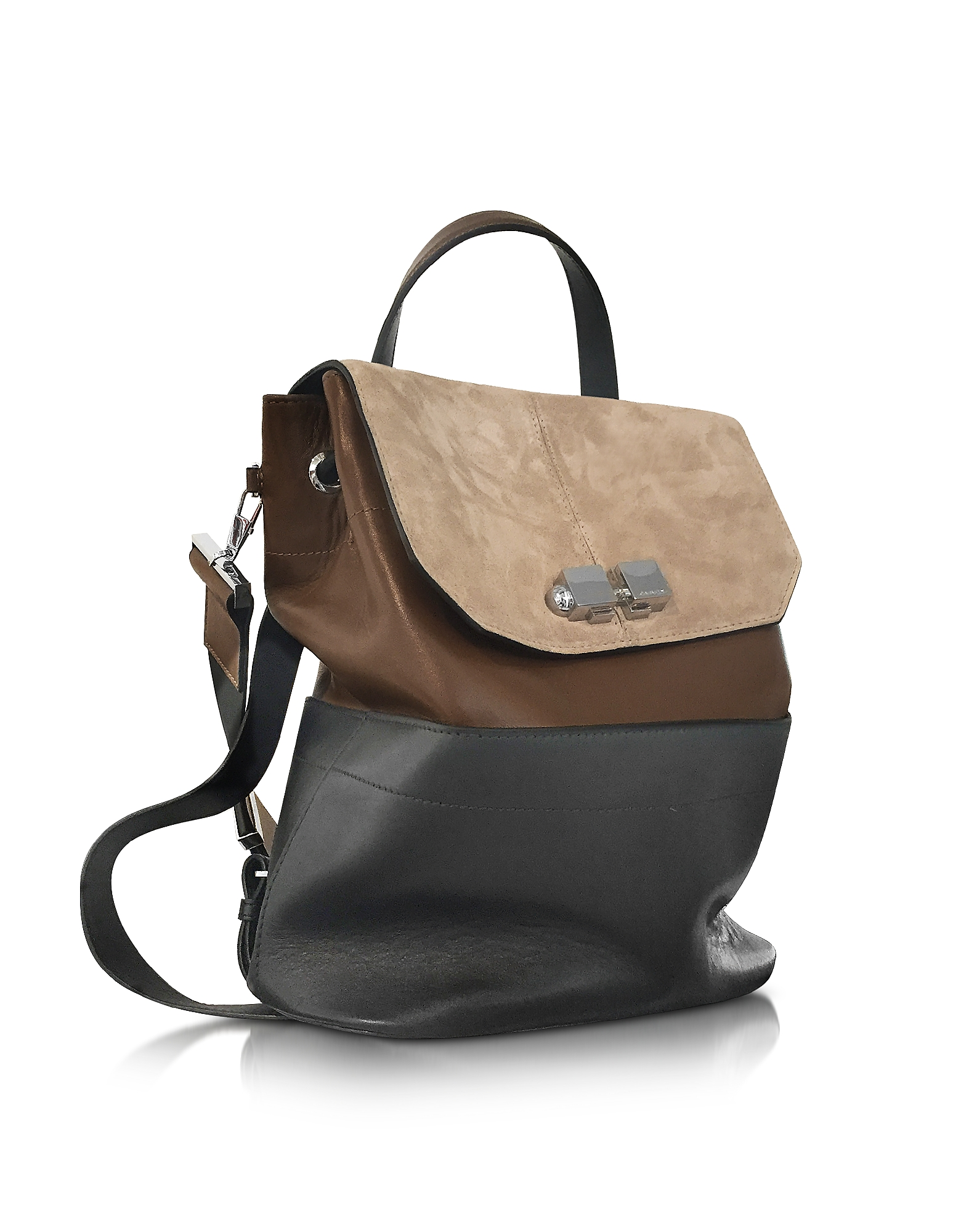Full Joy Color Block Suede and Leather Large Backpack/Shoulder Bag от Forzieri.com INT