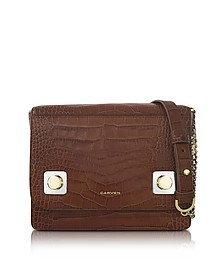 Brown Croco Embossed Leather Shoulder Bag - Carven