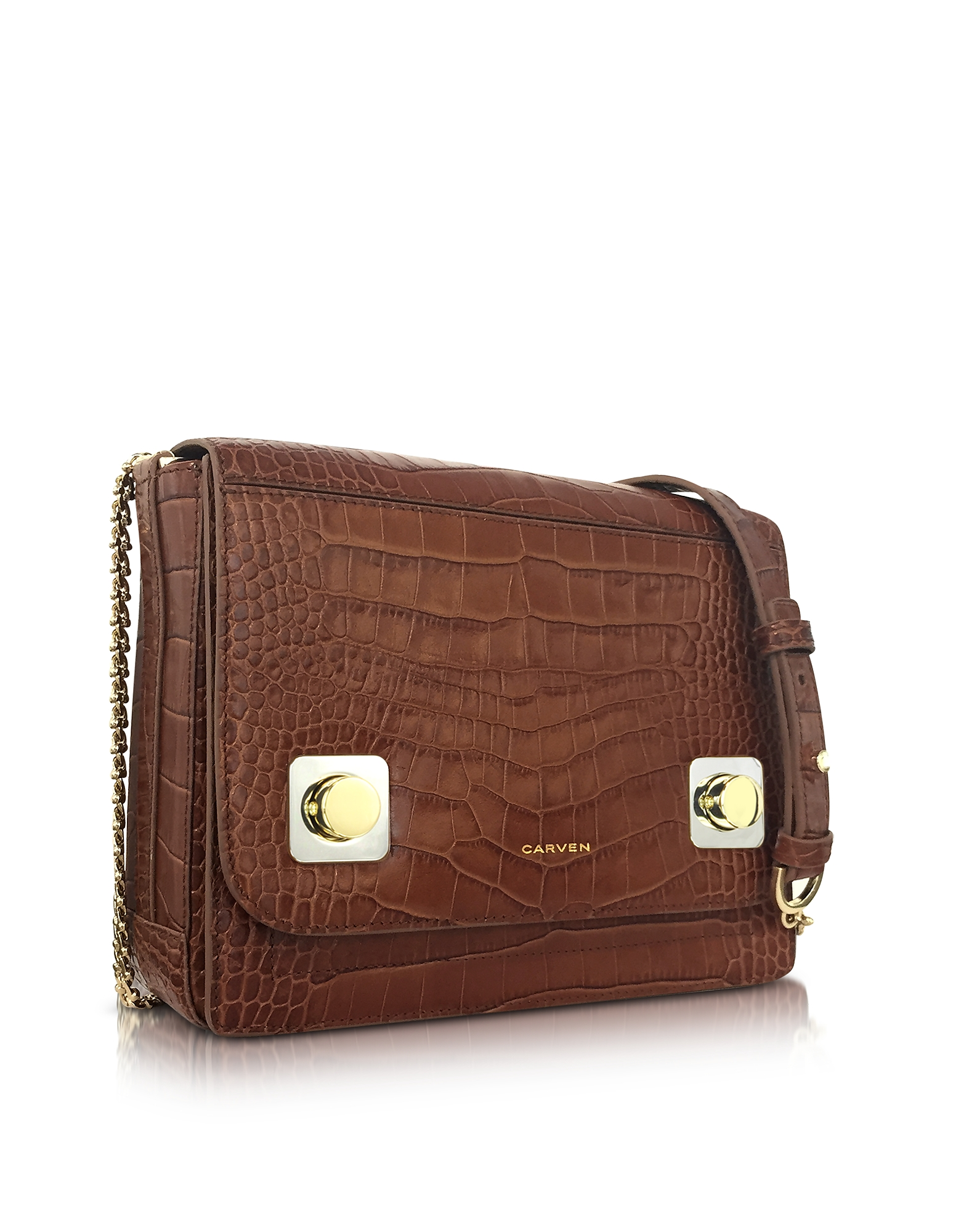 Brown Croco Embossed Leather Shoulder Bag от Forzieri.com INT