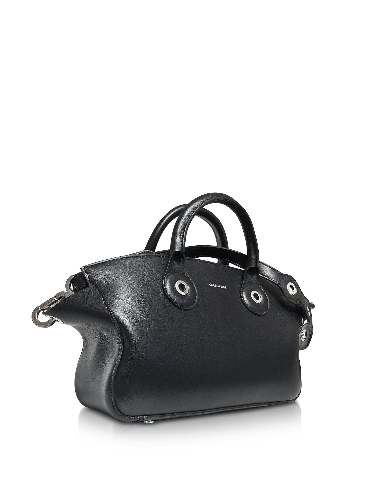 Black Leather Eyelet Tote от Forzieri.com INT