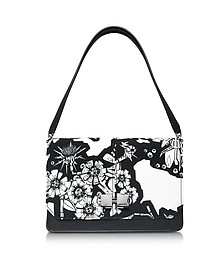 Black and White Printed Leather Shoulder Bag - Carven