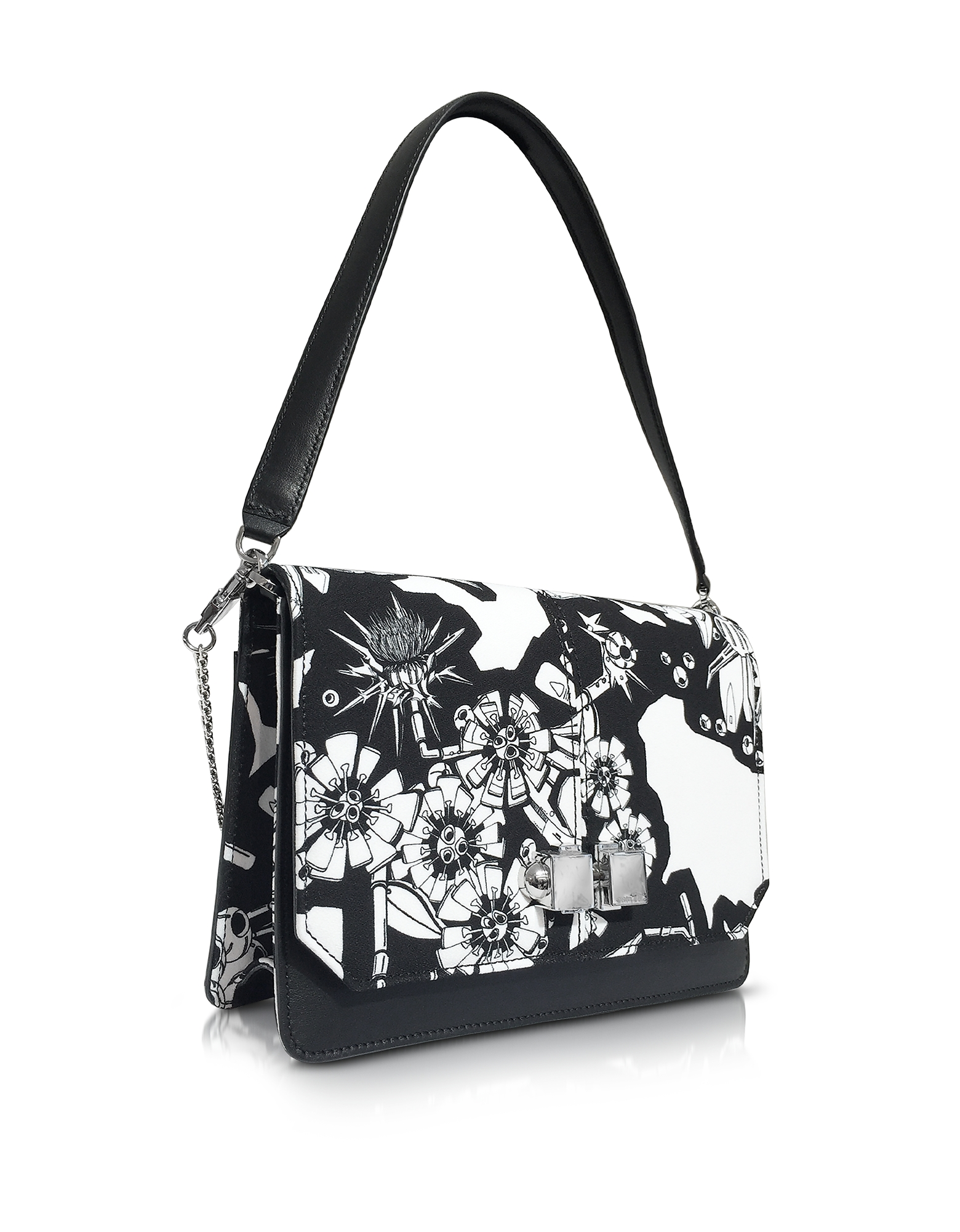 Black and White Printed Leather Shoulder Bag от Forzieri.com INT