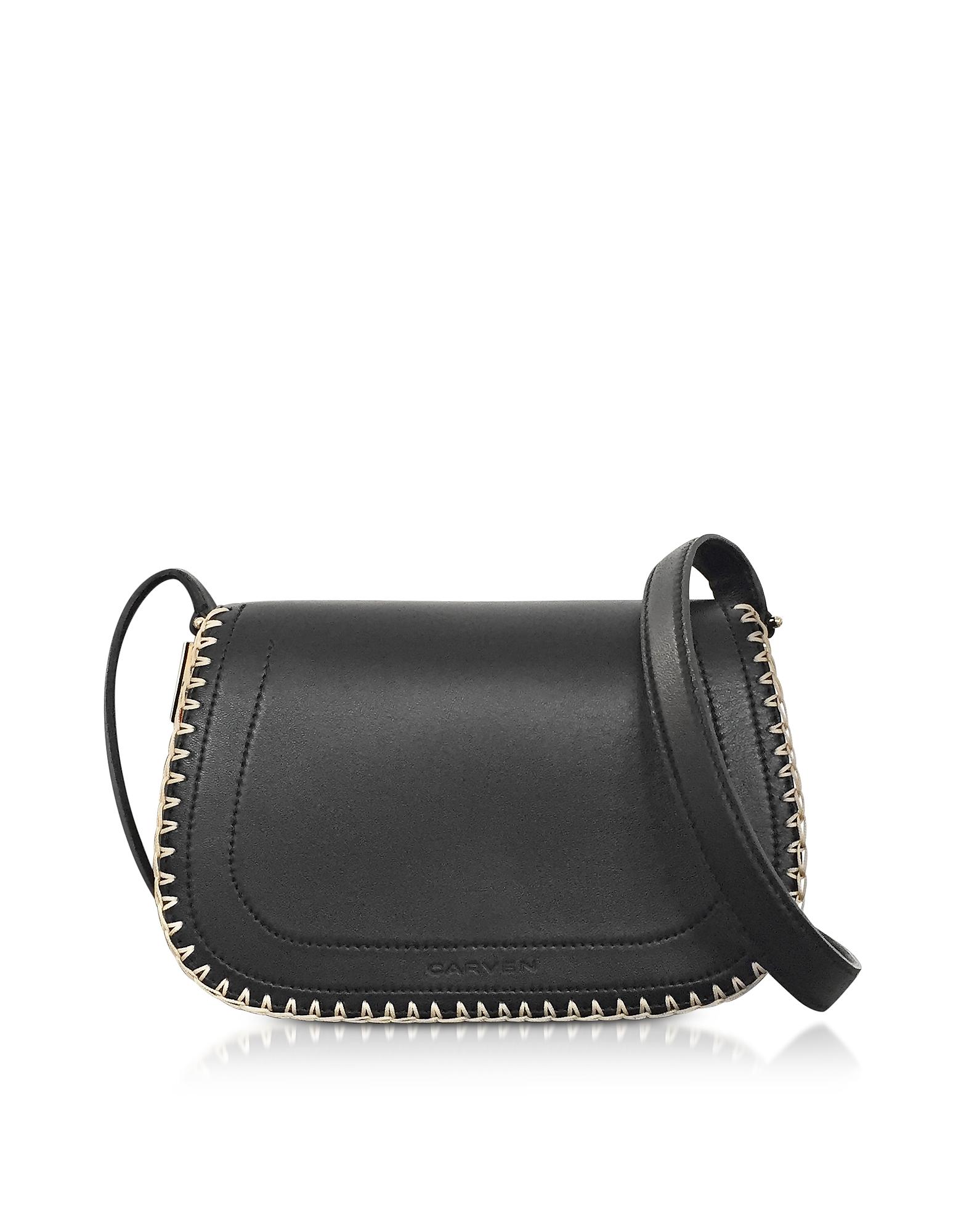 Carven Handbags, Mazarine Black Leather Crossbody Bag