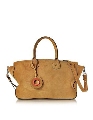 Large Cognac Suede Tote Bag w/Shoulder Bag