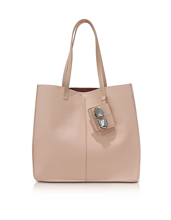 Flore Large Nude Leather Tote Bag