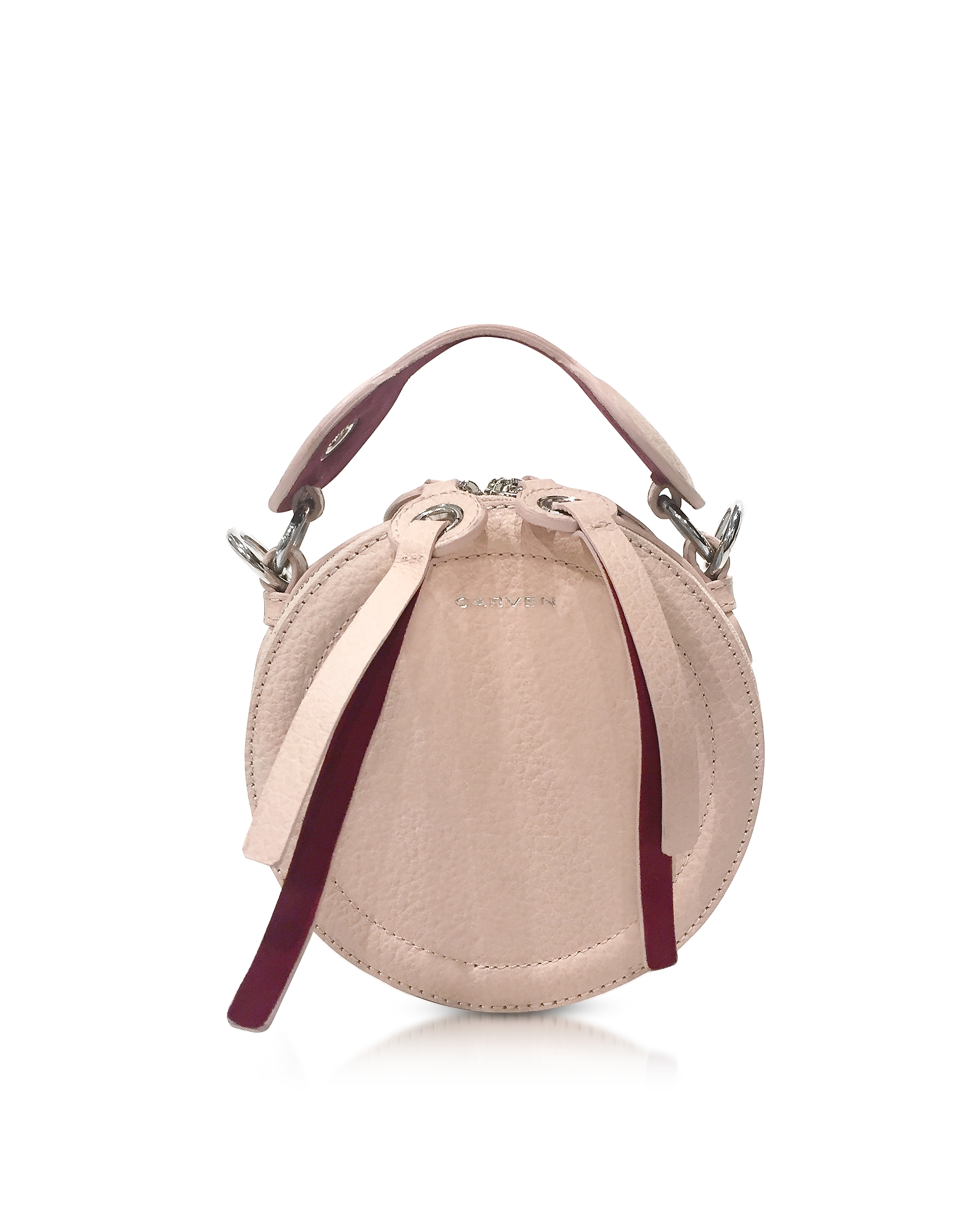 Carven Handbags, Orsay Nude Leather Round Crossbody Bag