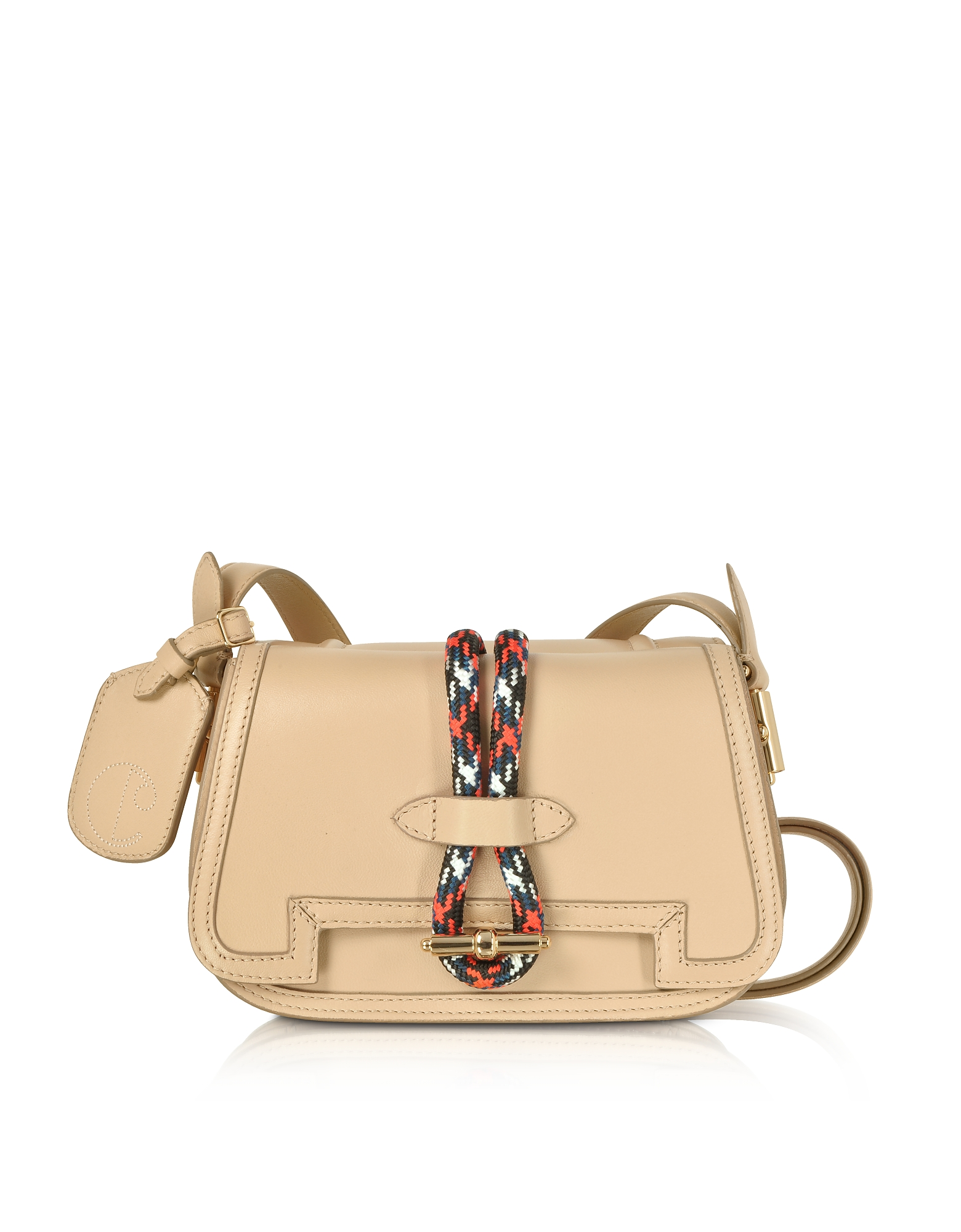 Image of Carven Designer Handbags, Smooth Leather Flap Top Twin Bag