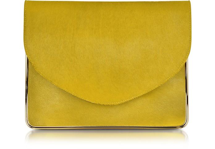 Saint Sulpice Daffodil Haircalf Clutch w/Metal Detail - Carven