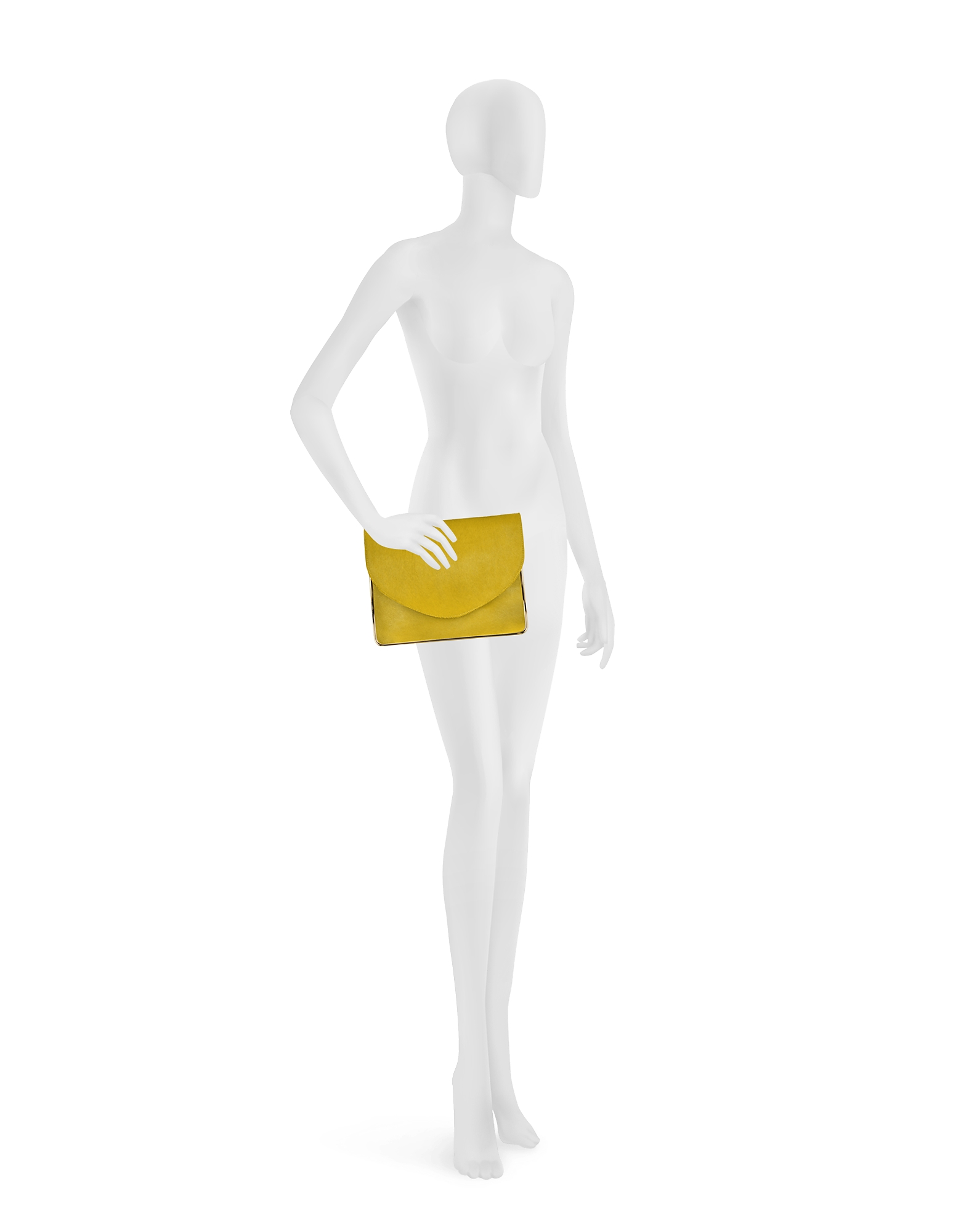 Saint Sulpice Daffodil Haircalf Clutch w/Metal Detail от Forzieri.com INT