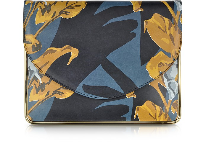 Saint Sulpice Multicolor Printed Leather Clutch w/Metal Detail - Carven
