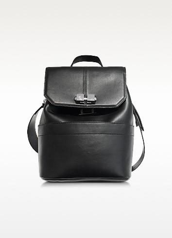 Full Joy Black Leather Large Backpack/Shoulder Bag - Carven