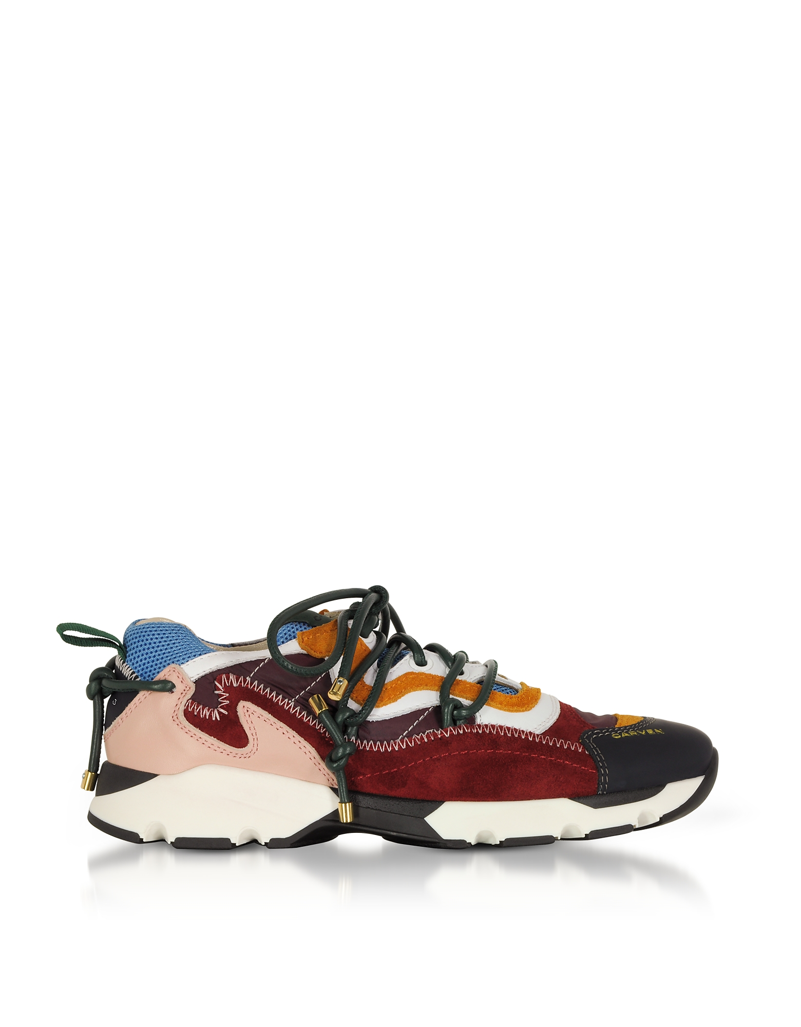 Nayeli Running Sneakers in Pelle e Suede Color Block