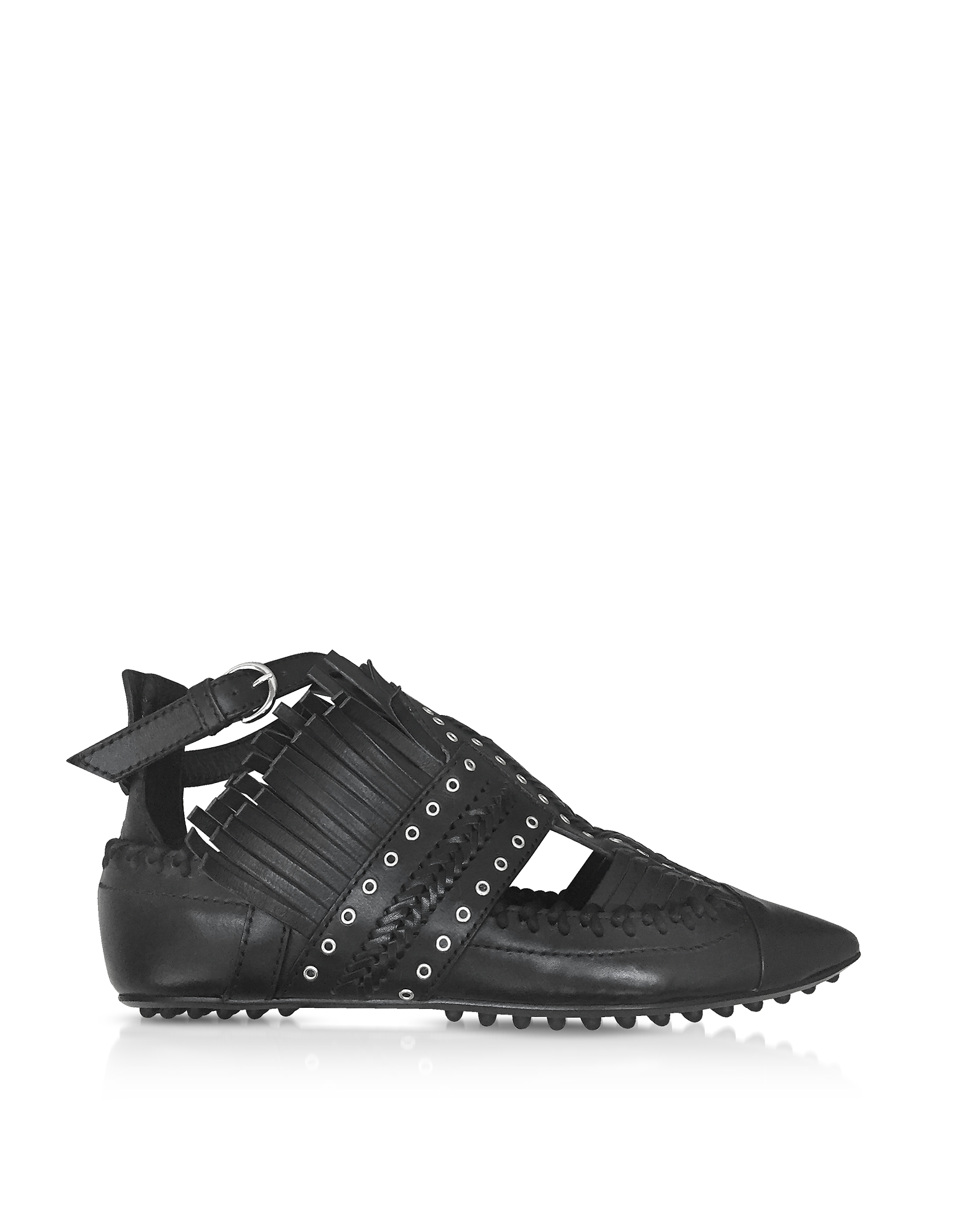 Carven Shoes, Black Fringed Leather Flat Ballerinas
