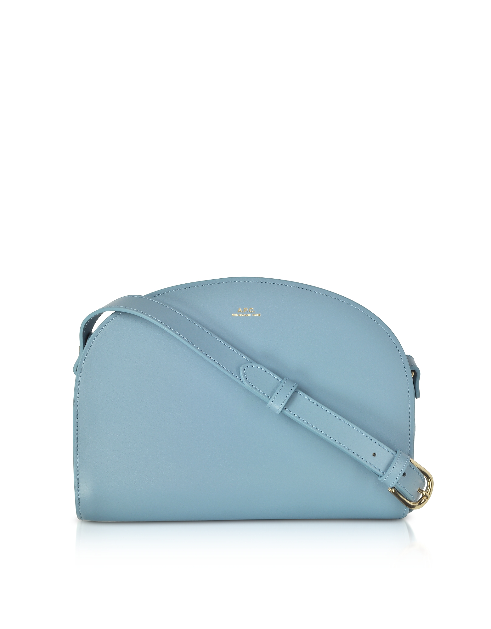 Blue Half Moon Smooth Leather Crossbody