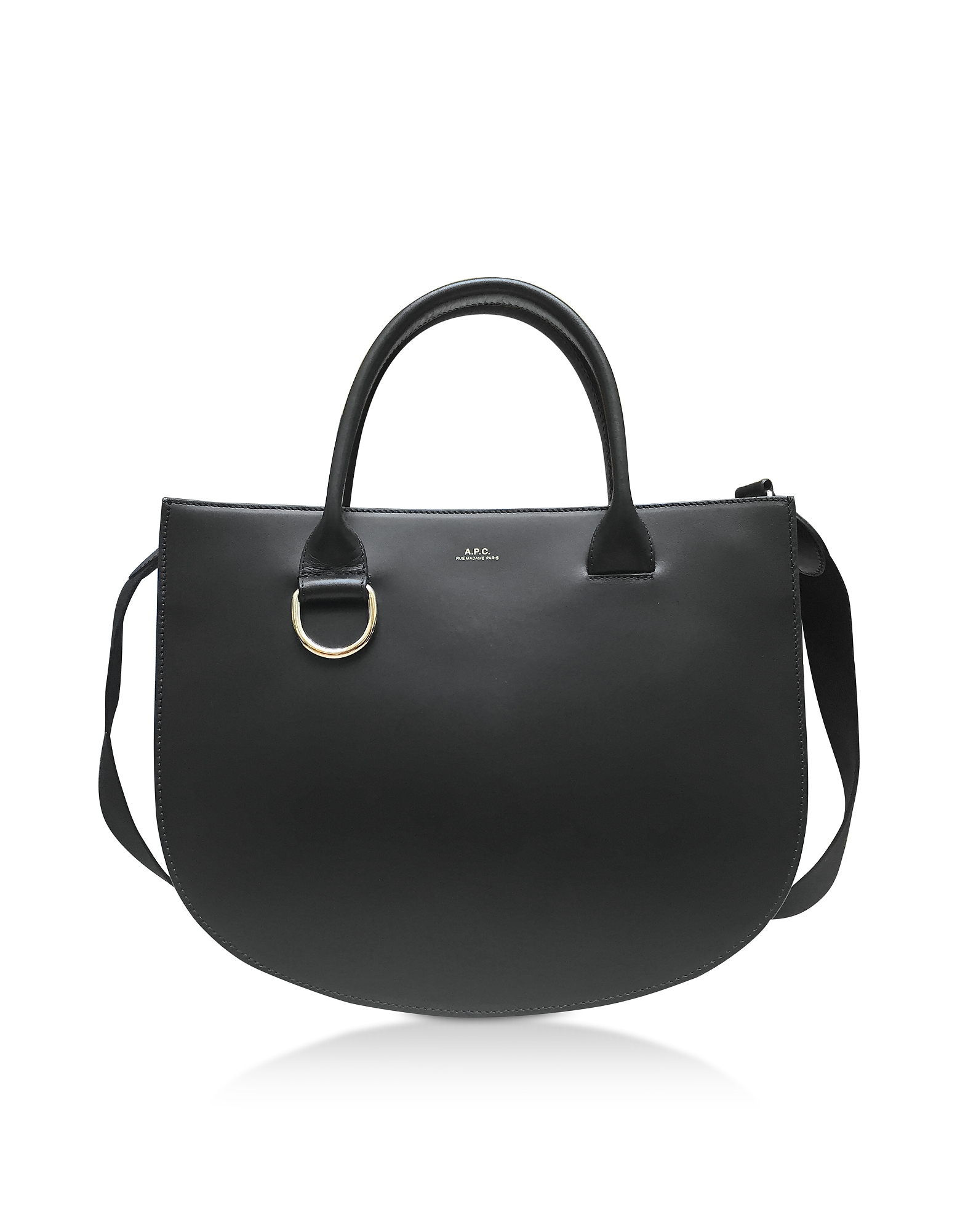 Marion Black Leather Tote Bag