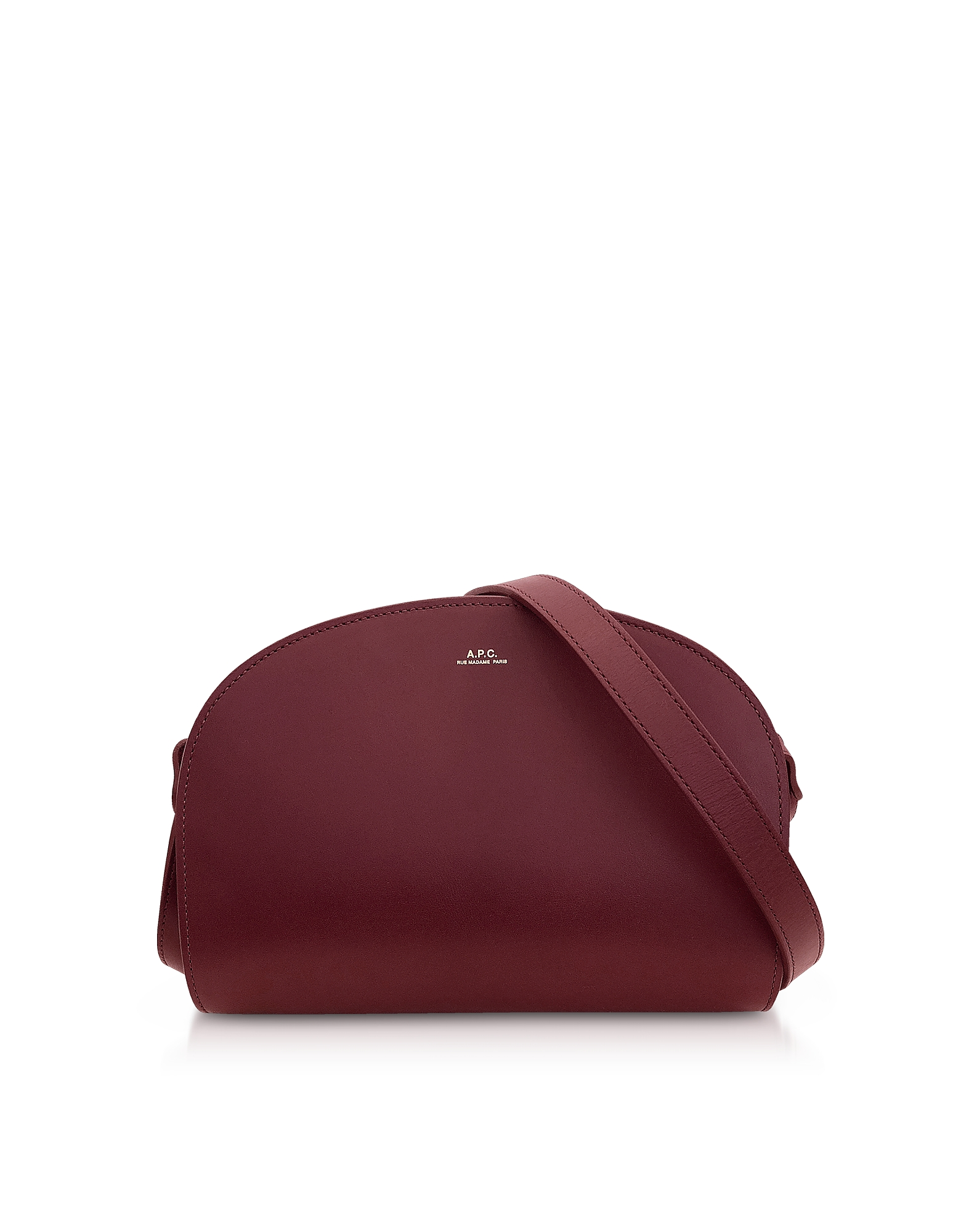 A.P.C. Designer Handbags, Wine Half Moon Smooth Leather Crossbody Bag