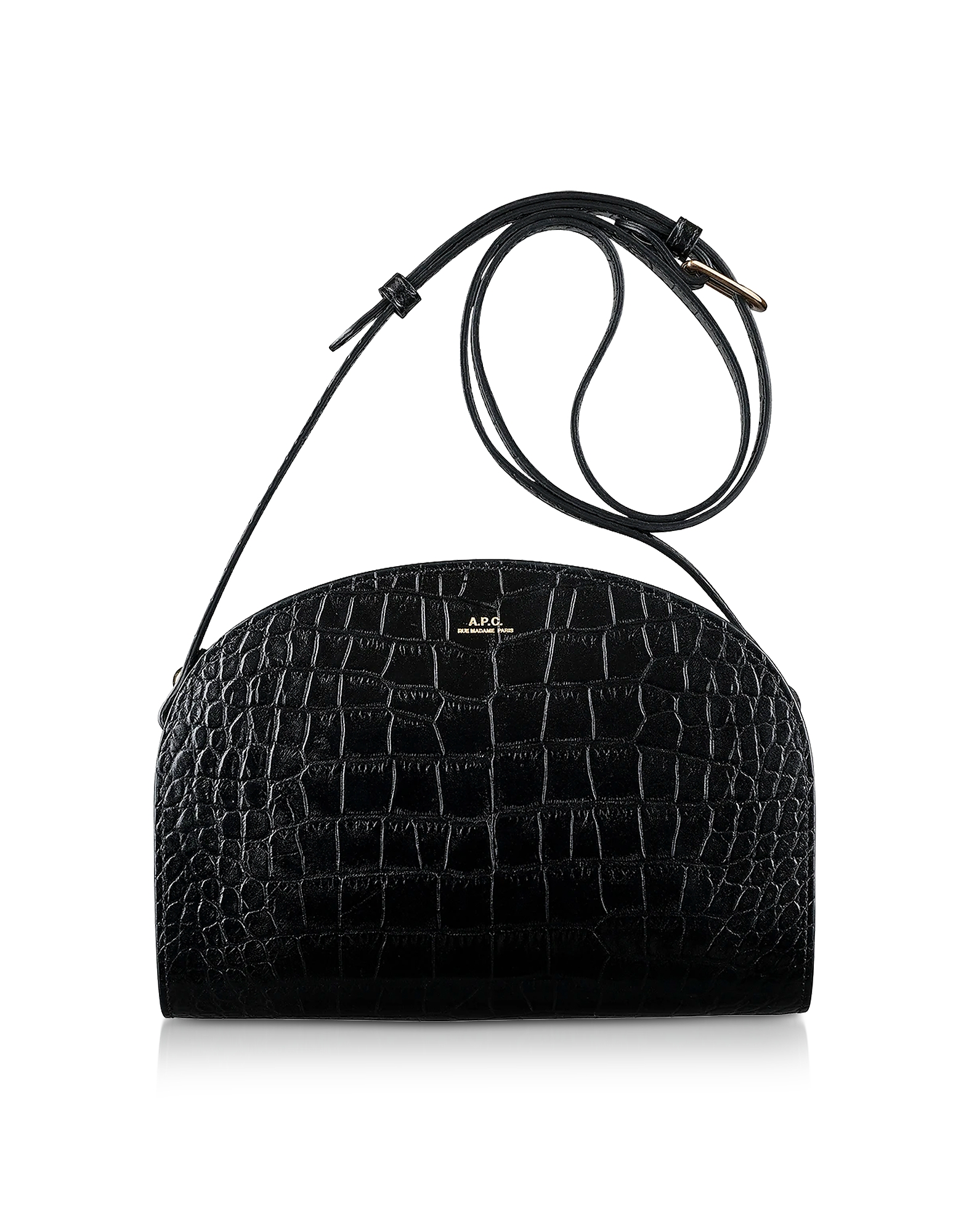 A.P.C. Designer Handbags, Black Croco Embossed Leather Demi-Lune Shoulder Bag