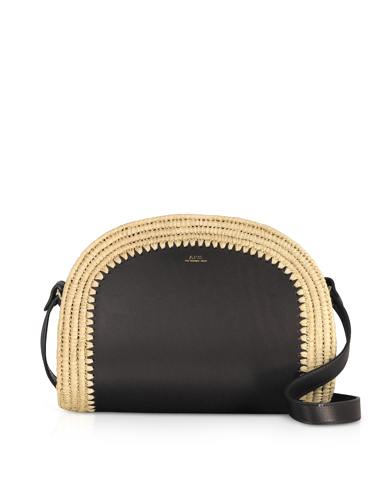 A.P.C. Designer Handbags, Woven Straw & Leather Demi-Lune Crossbody Bag