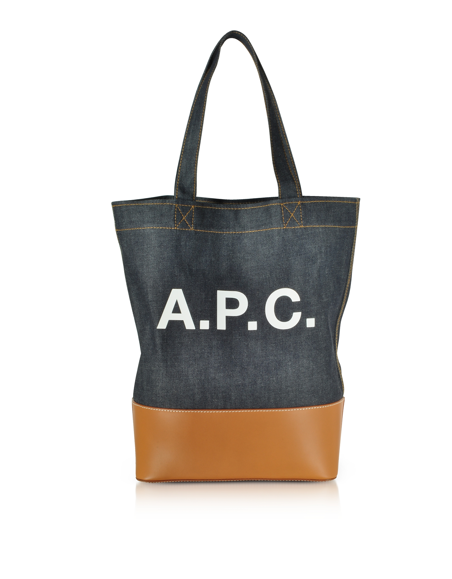 Axel Denim and Caramel Leather Tote Bag