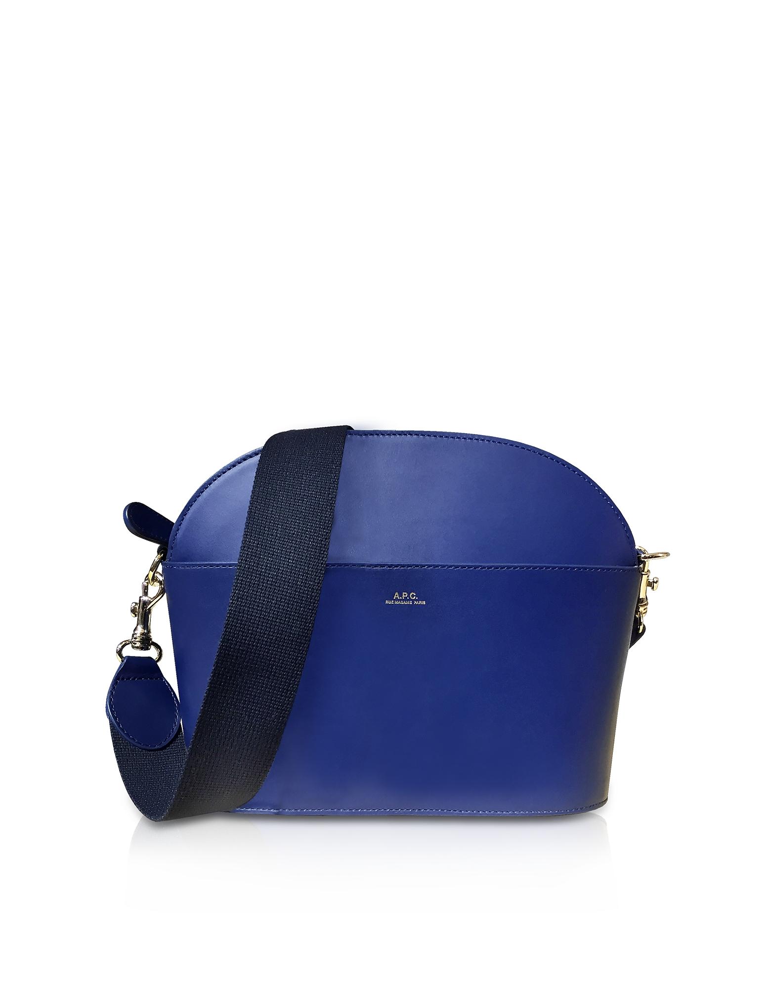 Image of A.P.C. Designer Handbags, Marine Blue Leather Gabrielle Shoulder Bag