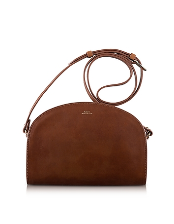 Half Moon Thick Leather Crossbody Bag