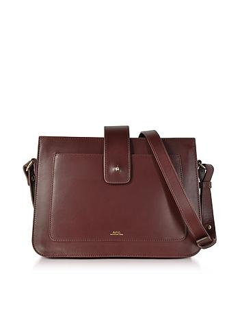 Forzieri DE A.P.C. Albane Lie De Vin Leather Crossbody Bag