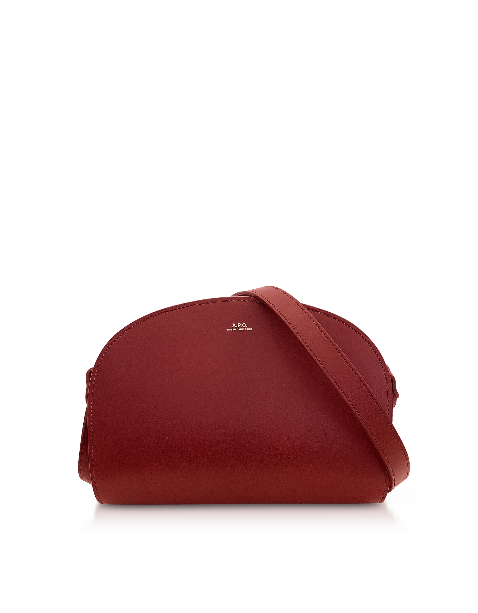 Demi Lune Borsa Crossbody in Pelle Bordeaux