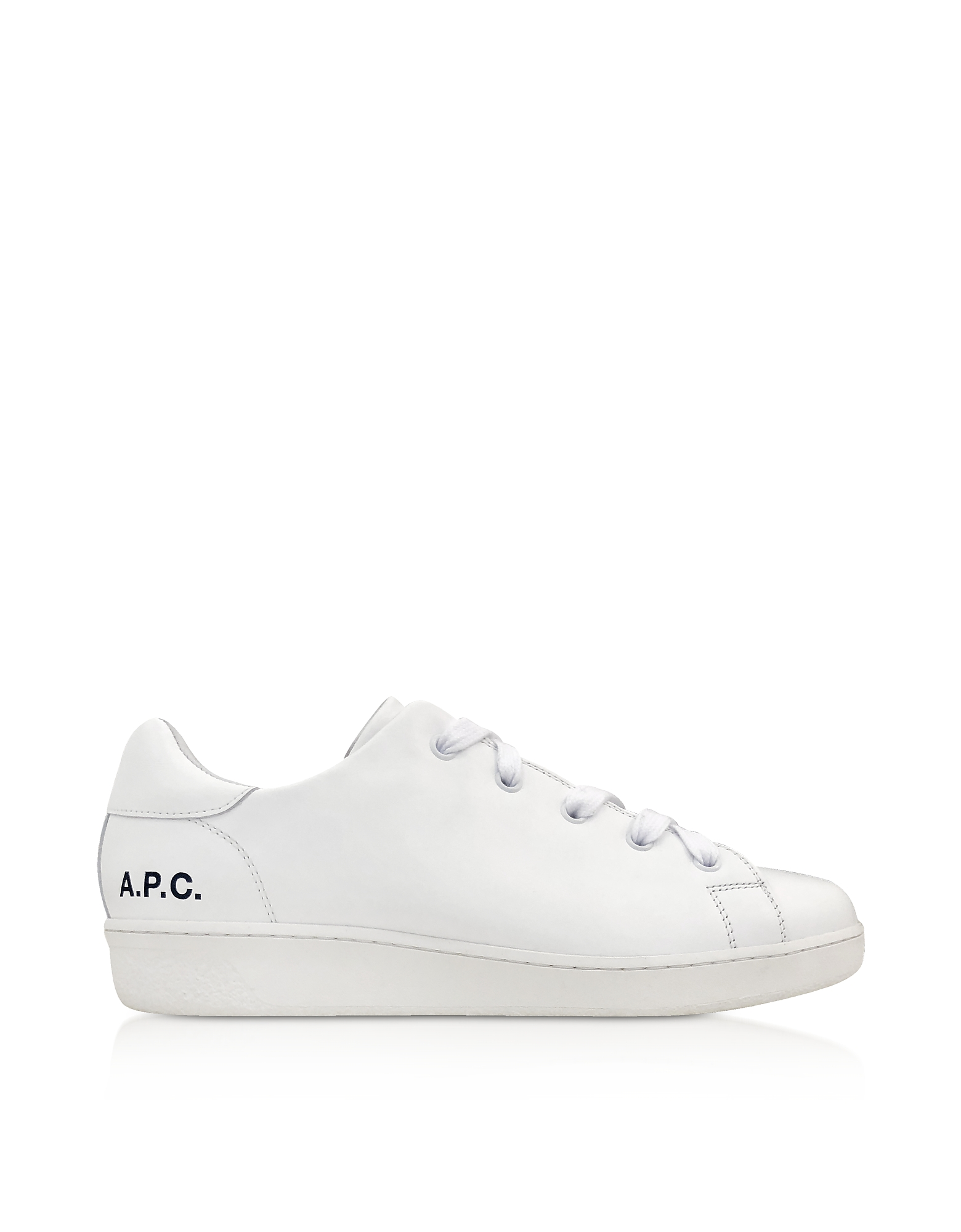 A.P.C. Shoes, White Leather Minimal Tennis Women's Sneakers