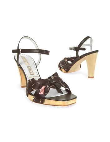 Black Shoe Print Silk Platform Sandal Shoes Sandal