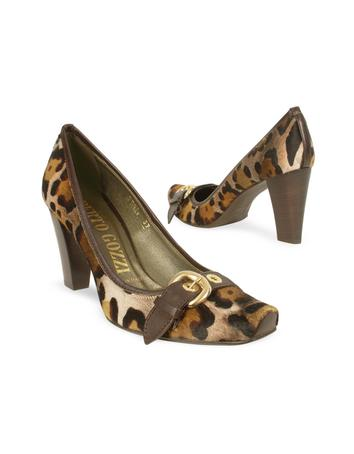 Leopard Hair-Calf and Leather Buckle Pump Shoes