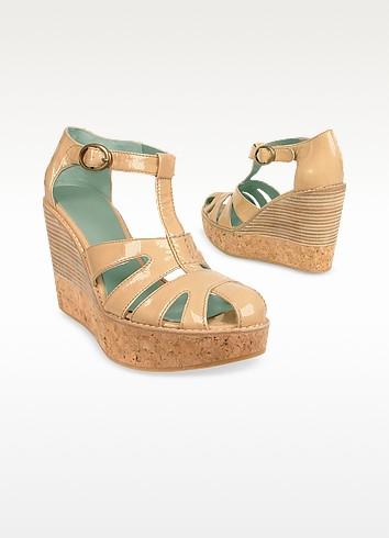 Natural Patent Leather Cork Platform Wedge Shoes - Esko