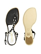 Black Studded Leather Thong Sandal Shoes - Alberto Gozzi