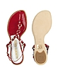 Red Studded Patent Leather Thong Sandal Shoes  - Alberto Gozzi