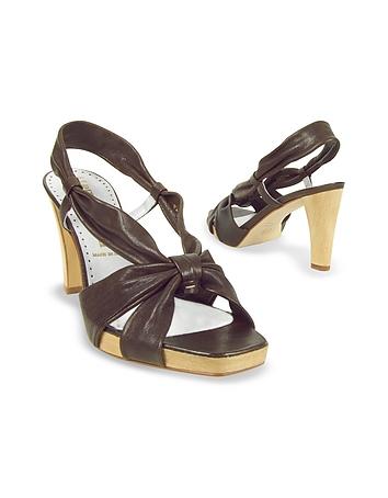 Dark Brown Leather Straps Platform Sandal Shoes