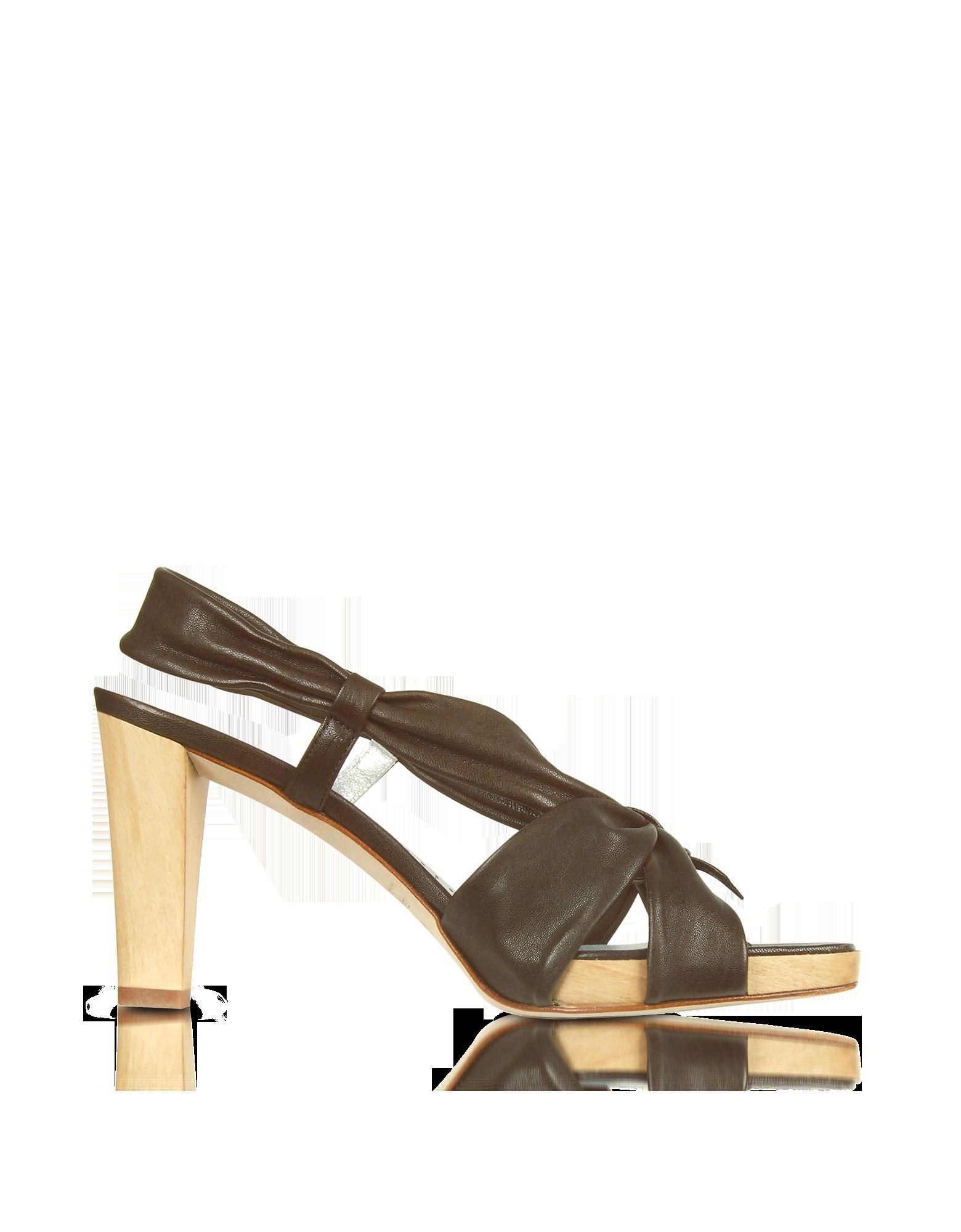 Image of Dark Brown Leather Straps Platform Sandal Shoes