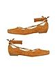 Tan Ankle-wrap Suede Ballerina Flat Shoes - Alberto Gozzi