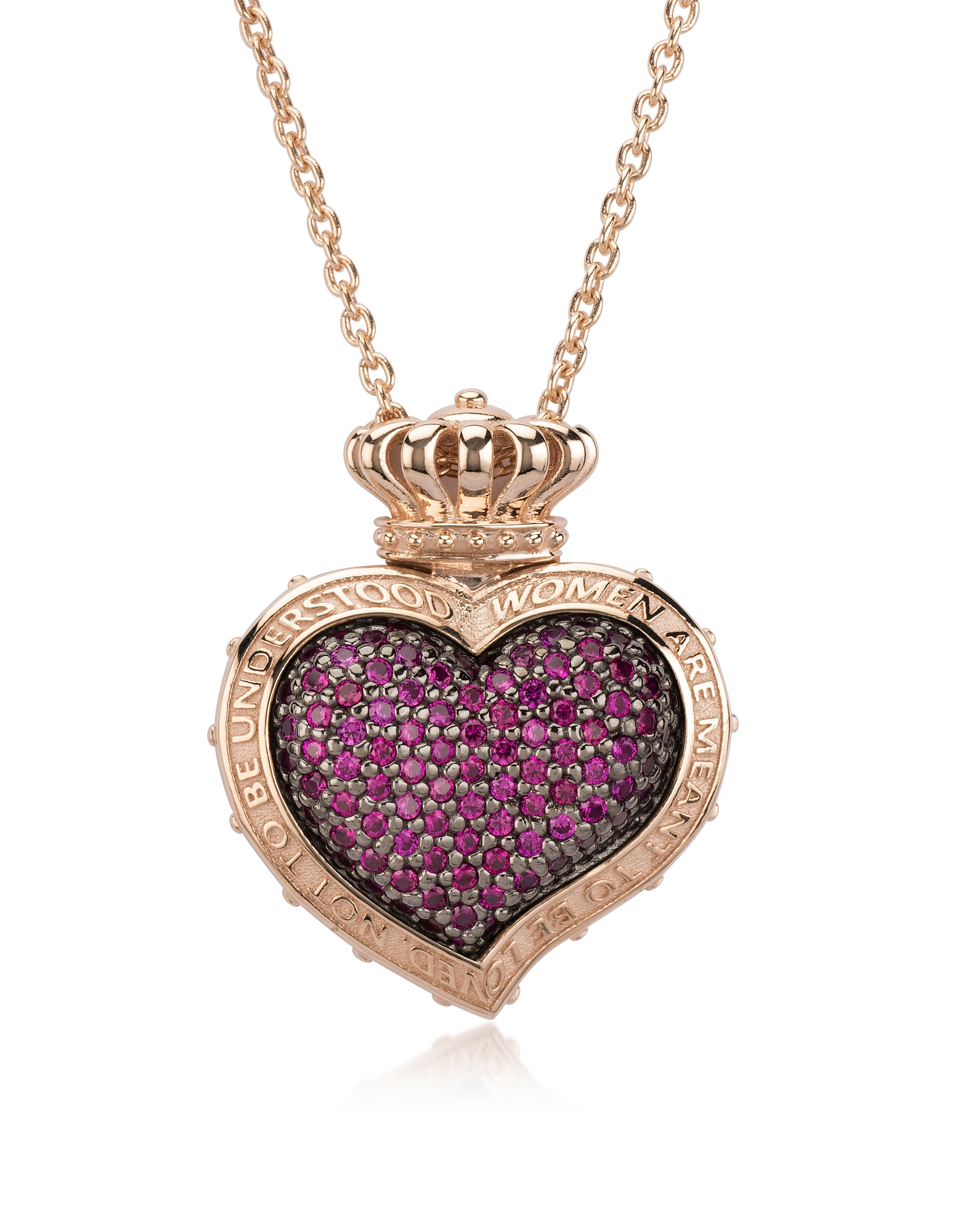 Rose Sterling Silver and Cubic Zirconia Sacred Heart Pendant Necklace