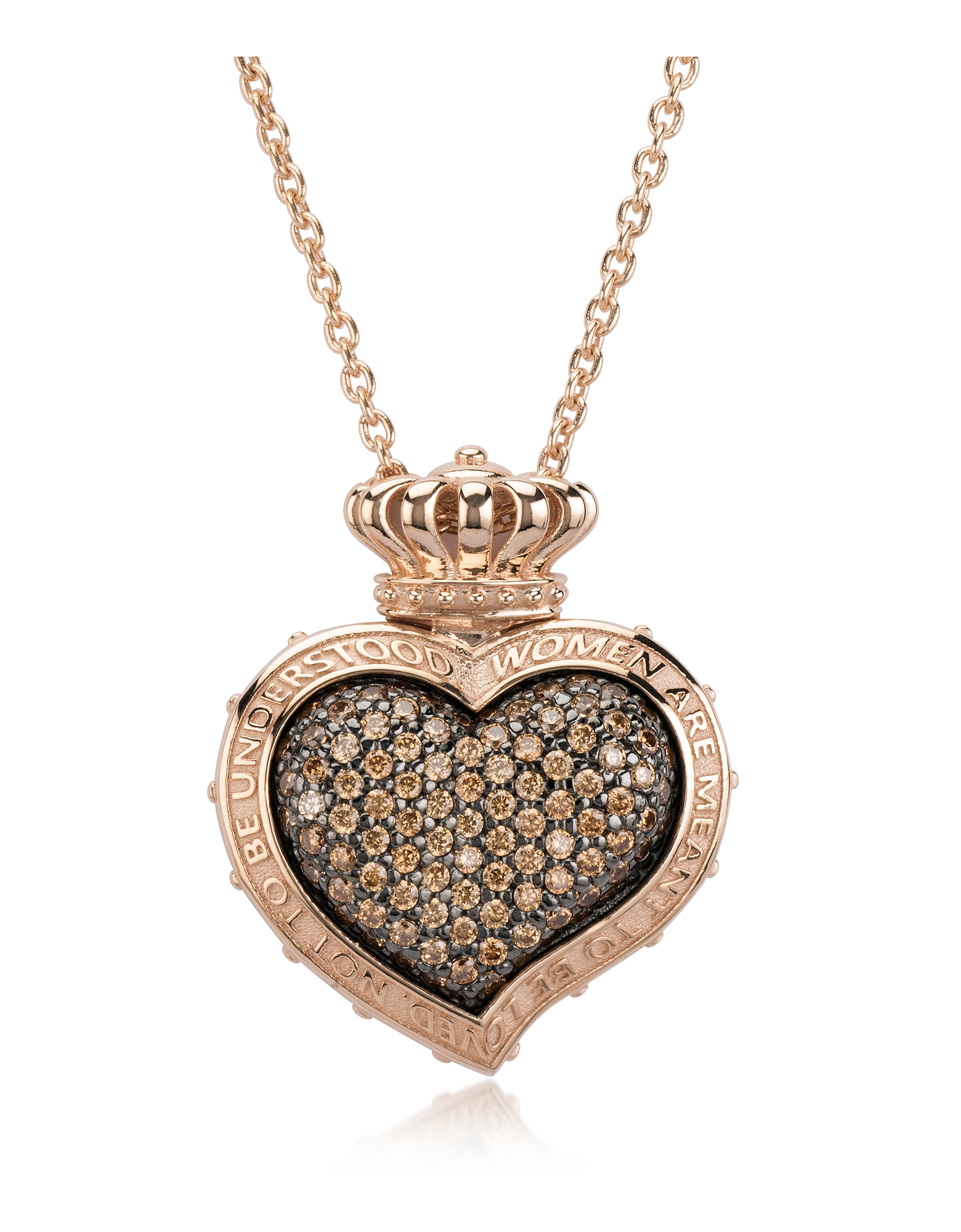 Azhar Necklaces, Rose Sterling Silver and Cubic Zirconia Sacred Heart Pendant Necklace