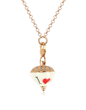 Rose Sterling Silver and Enamel Small Spinning Top Pendant Necklace w/Cubic ..