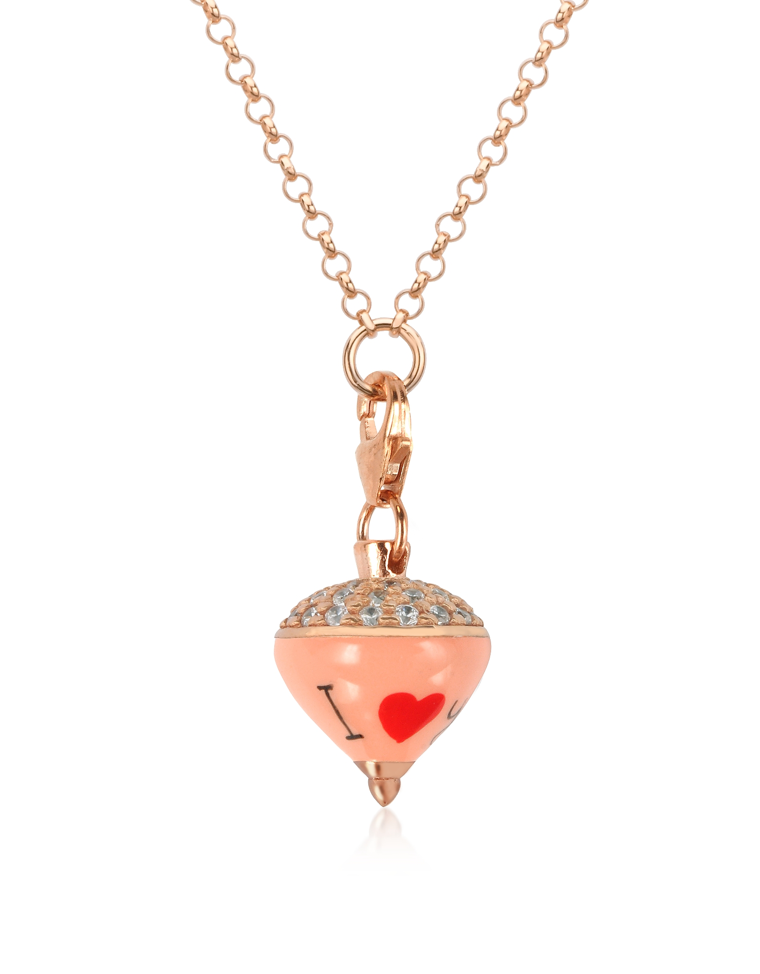Azhar Necklaces, Rose Sterling Silver and Enamel Small Spinning Top Pendant Necklace w/Cubic Zirconi