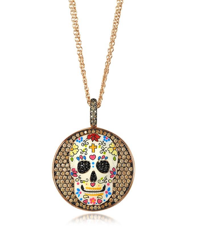 Totenkopf Halskette aus Sterlingsilber mit Rhodium beschichtet und Zirkonia  - Azhar